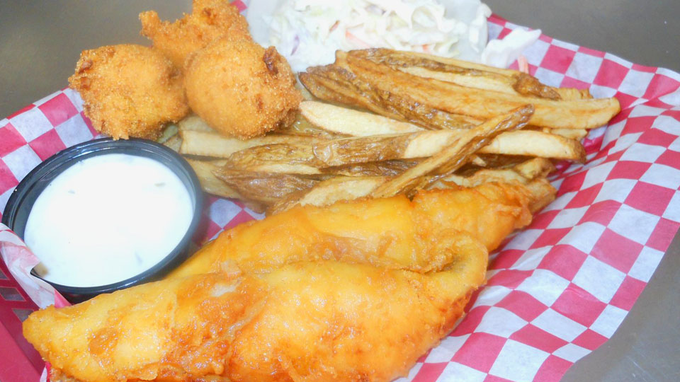 Catfish Filet Platter with Hushpuppies